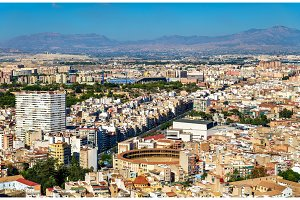 Skyline of Alicante seen from Santa Barbara Castle, Spain
