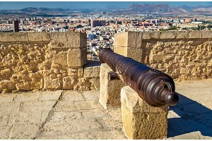 Medieval cannon on the top of Santa Barbara Castle in Alicante, Spain