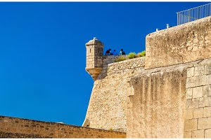 Watchtower of Santa Barbara Castle in Alicante, Spain