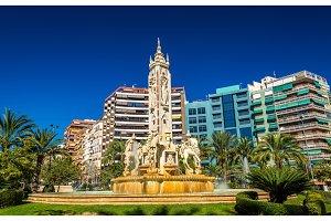 La Fuente de Levante Fountain on Luceros Square in Alicante, Spain