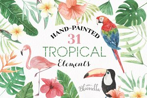 Watercolor Tropical Elements Set
