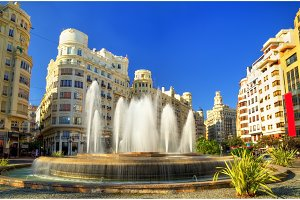 Fountain on the Plaza del Ayuntamiento of Valencia - Spain
