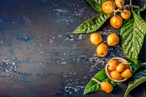 Loquat fruit. Nispero. Eriobotrya Japonica. Loquat with fresh leaves on metal background