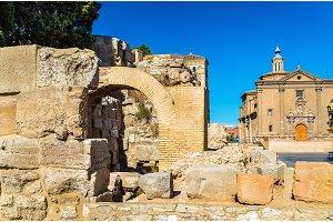 Roman defensive wall in Zaragoza, Spain
