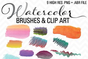 Watercolor Brushes & Clip Art .ABR