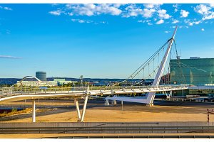 Suspension pedestrian bridge in Zaragoza, Spain