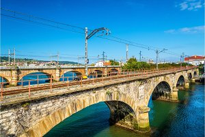 Railway bridges over the Bidasoa river on the France - Spain border