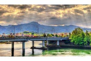 Bridge over the Bidasoa river on the France - Spain border