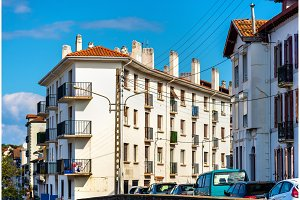 Buildings in Hendaye, a French city on the border with Spain