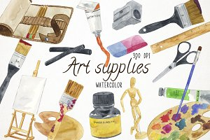 Watercolor Art Supplies Clipart