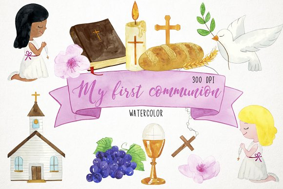 Girl First Communion Clipart