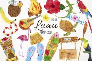 Watercolor Luau Clipart