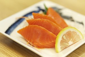 Salmon sashimi on plate. Japanese food styl