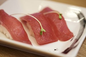 Japanese cuisine tuna sushi, fresh raw sashimi