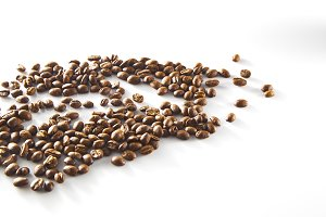 Coffee beans isolated on white background