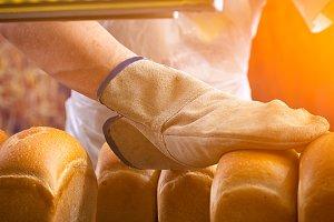 Baker cooking bread