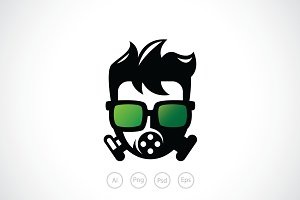 Geek Ninja Mask Logo Template