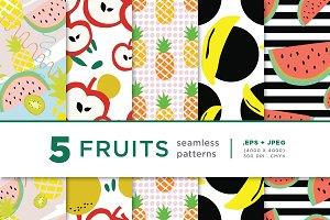 5 Fruits Seamless Pattern Series 01