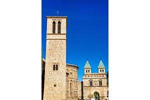 Santiago del Arrabal Church and Puerta de Bisagra Nueva Gate in Toledo, Spain