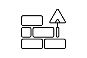 Vector line icons brickwork