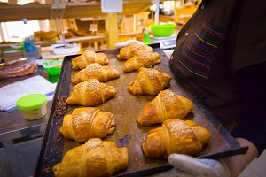 fresh delicious croissants