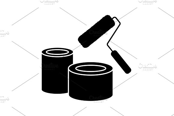 Banks Of Paint And Roller Icon Black