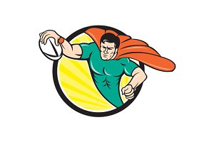 Superhero Rugby Player Scoring Try C