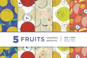 5 Fruits Seamless Pattern Series 02