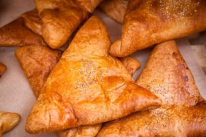 samsa with meat and onions