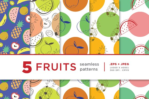 5 Fruits Seamless Pattern Series 03