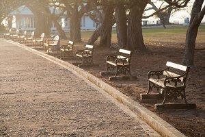 Benches sidewalk