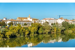 Cordoba city above the Guadalquivir river in Spain