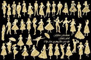 1950's Gold Foil Fashion Clip Art