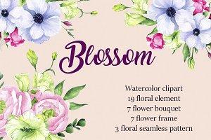 """Watercolor clipart """"Blossom"""""""