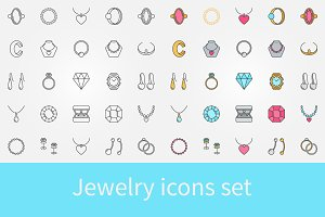 Jewelry vector icons set