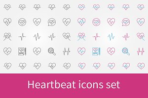 Heartbeat vector icons set
