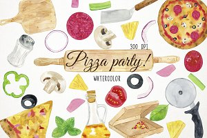 Watercolor Pizza Party Clipart