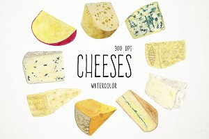Watercolor Cheeses Clipart