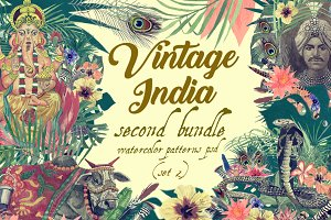 Vintage India 2. Pattens psd. Set 2.