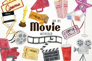 Watercolor Movie Clipart