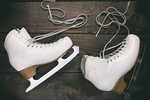 pair of old white female skates