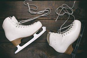 pair of old white female skates