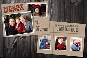 Brown Paper: 5x7 Xmas Card Template