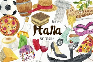 Watercolor Italy Clipart
