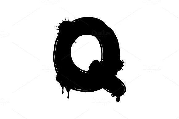 Blot Letter Q Black And White Vector Illustration