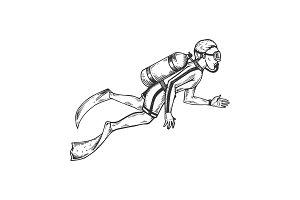 Scuba diver engraving vector illustration