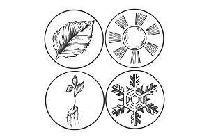 Season symbols engraving vector illustration
