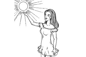 Girl and sun engraving vector illustration
