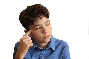 teenager boy close up thinking photo isolated on white