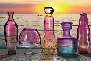 sunset sun setting send last ultraviolet ray on the set of glass jars